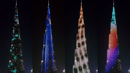 Dazzling New LED Light Show at Burj Khalifa