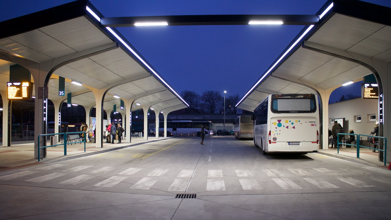 LED illuminance of main bus station in the city of Nitra / 1.stage